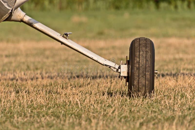 Chassi av sportflygplan och gräs royaltyfri bild