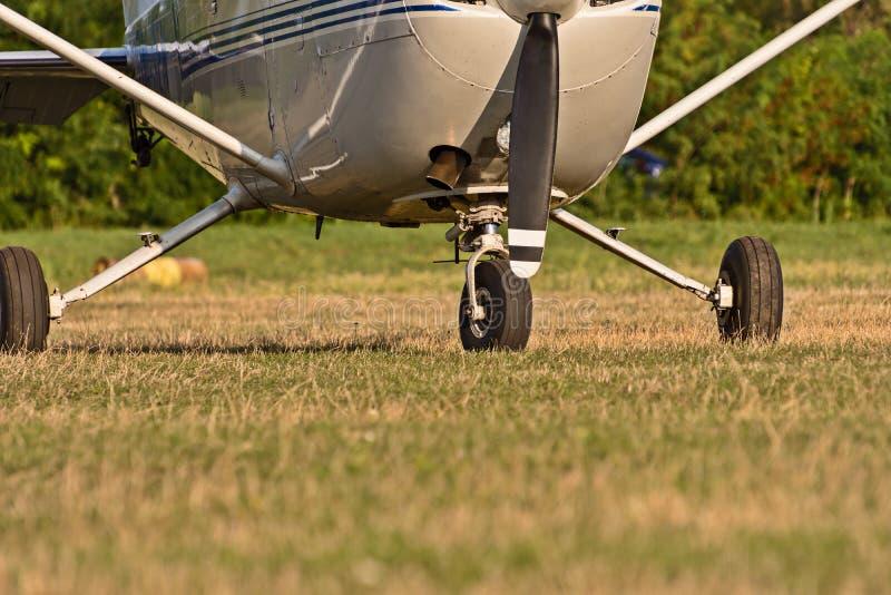 Chassi av sportflygplan och grönt gräs royaltyfria foton