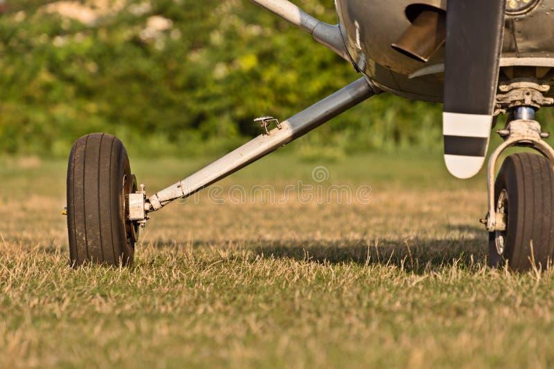Chassi av sportflygplan och grönt gräs royaltyfri bild