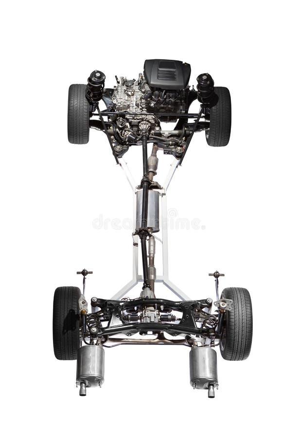 Chassi do carro com motor. foto de stock