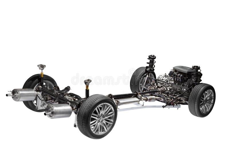Chassi do carro com motor. fotografia de stock royalty free