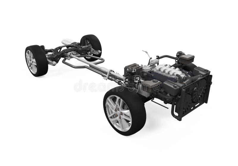 Chassi do carro com motor foto de stock