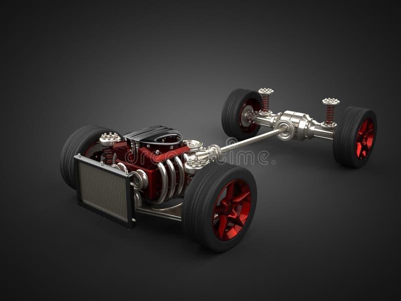Chassi do carro com motor e rodas ilustração do vetor