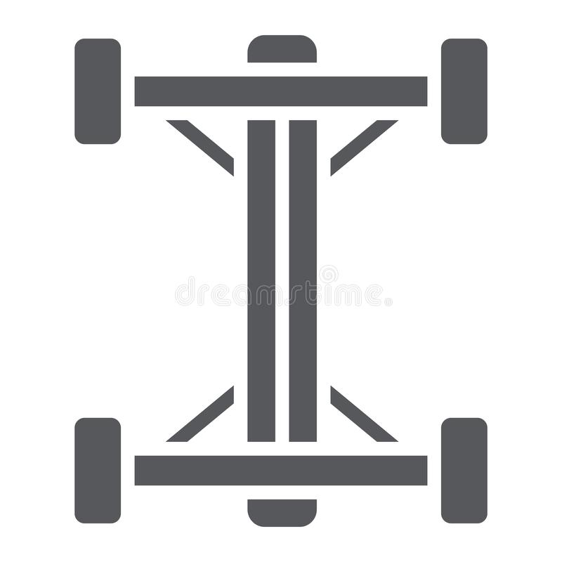Chassis glyph icon, car and part, auto shaft sign, vector graphics, a solid pattern on a white background. Chassis glyph icon, car and part, auto shaft sign vector illustration