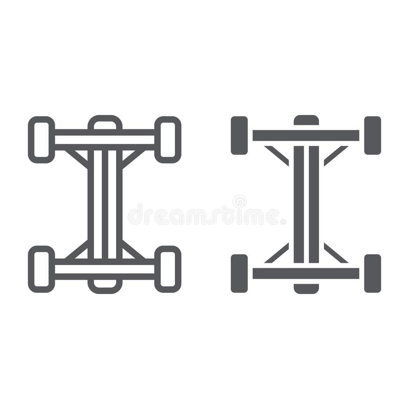 Chassis line and glyph icon, car and part, auto shaft sign, vector graphics, a linear pattern on a white background. Chassis line and glyph icon, car and part stock illustration