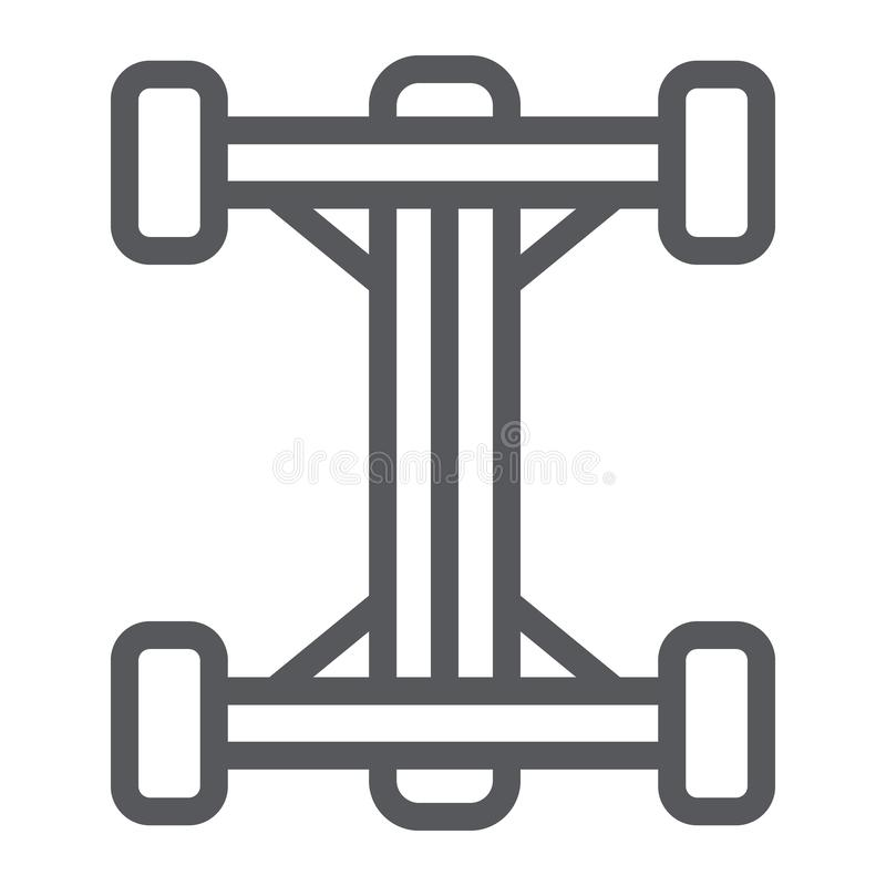 Chassis line icon, car and part, auto shaft sign, vector graphics, a linear pattern on a white background. Chassis line icon, car and part, auto shaft sign stock illustration