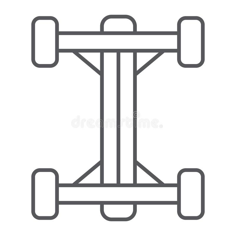 Chassis thin line icon, car and part, auto shaft sign, vector graphics, a linear pattern on a white background. Chassis thin line icon, car and part, auto shaft vector illustration
