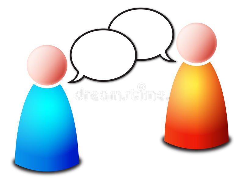 Chat. Vector two isolated blue and orange persons in dialogue with two empty talk bubbles for your text on white background - work or personal conversation or stock illustration