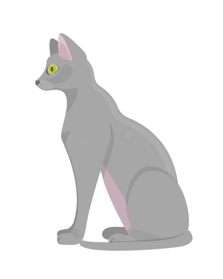Chat animal égyptien antique sacré Chat animal pelucheux domestique illustration de vecteur