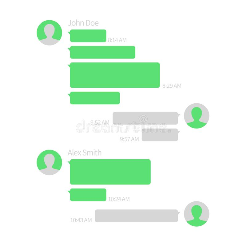 Chat app template. Short message service vector illustration with text bubbles. Message speech bubble for communication, green style sms mobile vector illustration
