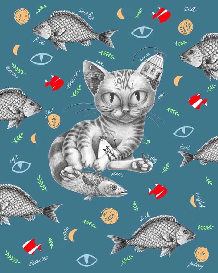 Chat avec des poissons autour illustration de vecteur