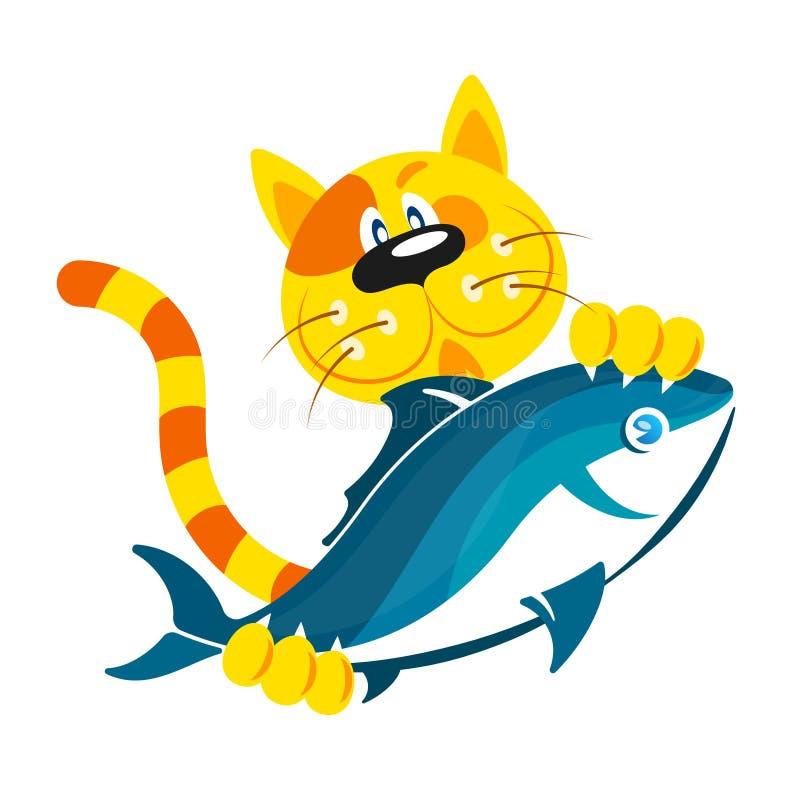Chat avec des poissons dans les pattes illustration de vecteur