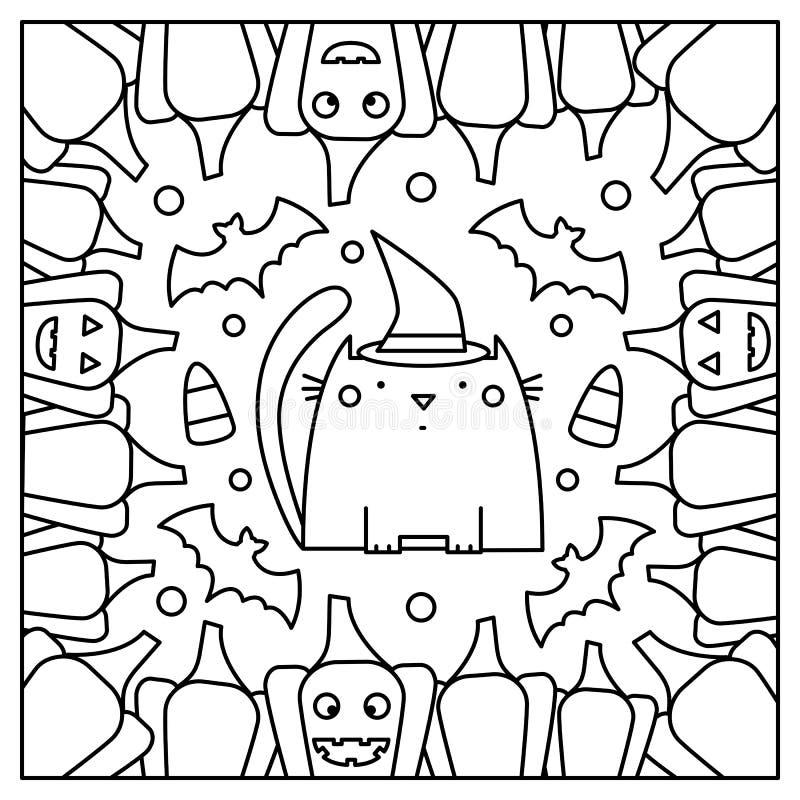Chat avec des potirons Page de coloration Illustration de vecteur illustration libre de droits