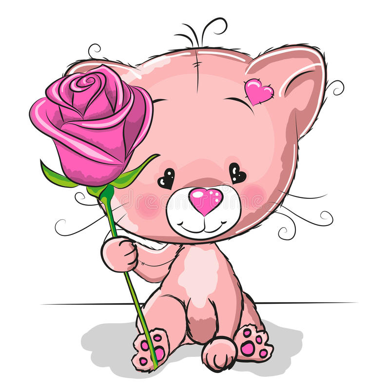 Chat avec la fleur illustration de vecteur