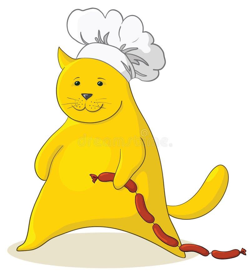 Chat avec la saucisse illustration stock
