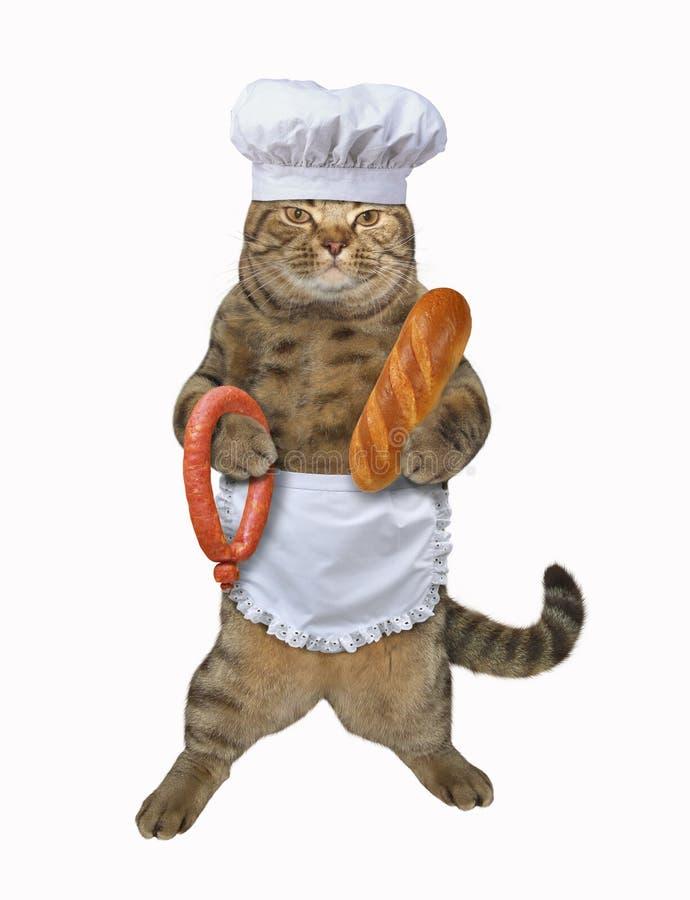Chat avec la saucisse et le pain illustration libre de droits
