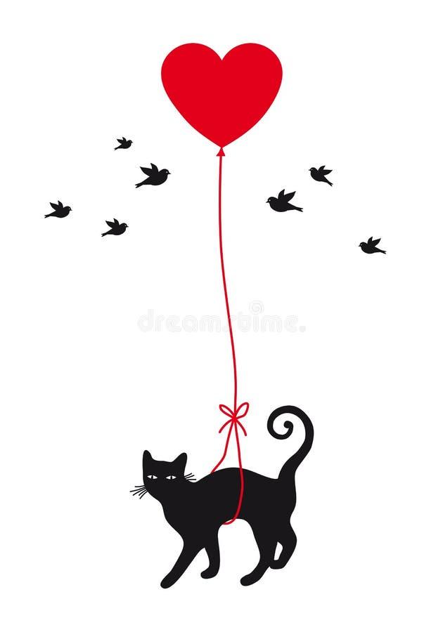 Chat avec le ballon de coeur illustration de vecteur