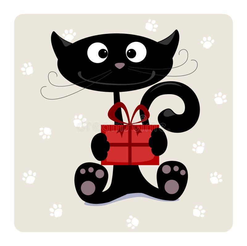 Chat avec le cadeau illustration de vecteur