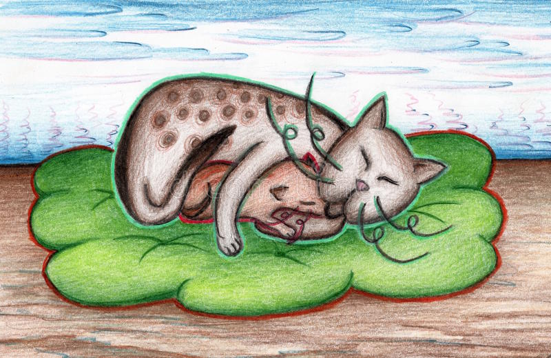 Chat avec le chaton sur un plaid vert avec le paysage de fleur image libre de droits