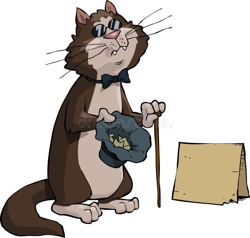 Chat aveugle illustration de vecteur