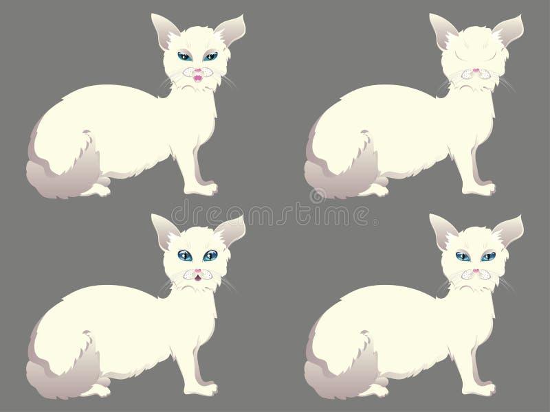 Chat blanc avec des yeux bleus illustration stock