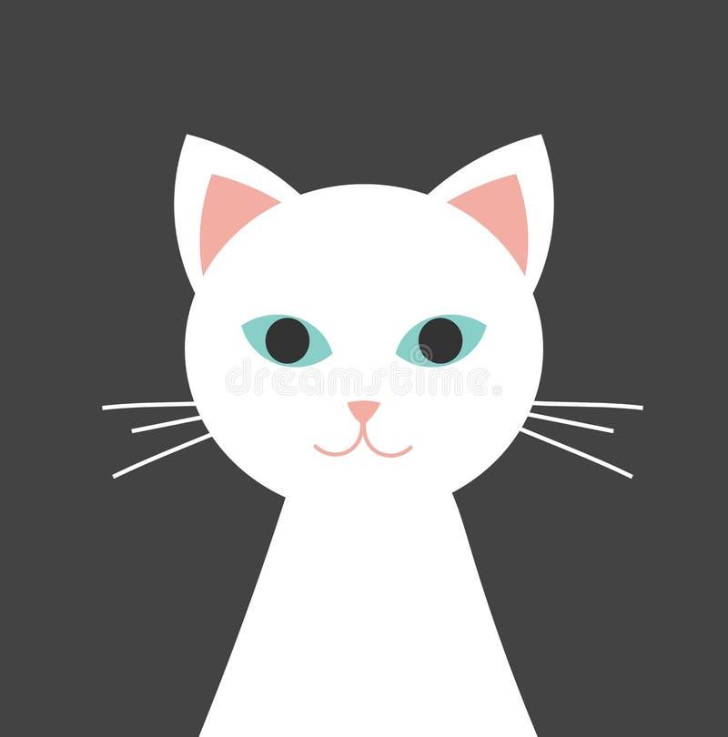 Chat blanc avec le portrait d'yeux bleus illustration libre de droits