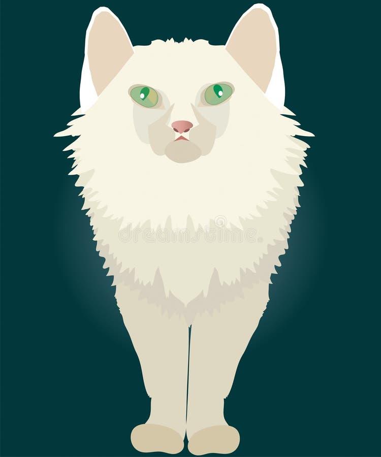 chat blanc avec les yeux verts illustration libre de droits