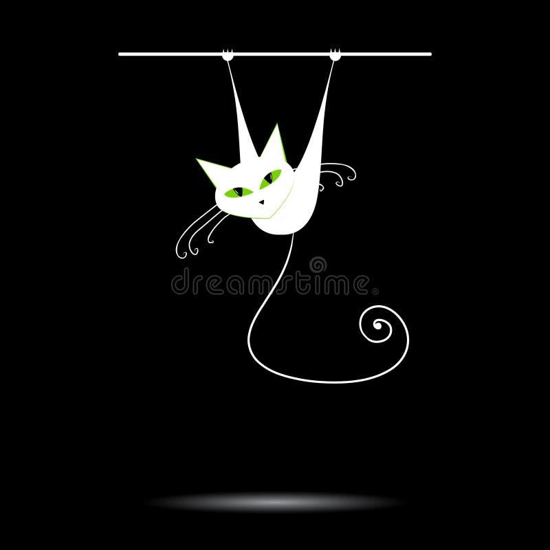 Chat blanc avec les yeux verts sur le noir illustration libre de droits