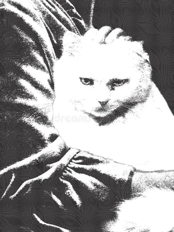 Chat blanc grincheux sur le recouvrement de la femme - gravure à l'eau-forte illustration libre de droits