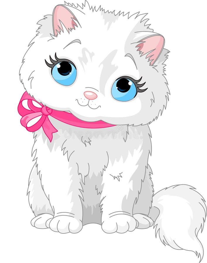 Chat blanc mignon illustration libre de droits