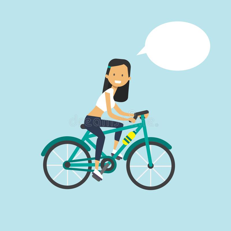 Chat-Blasencharakter der Frau Radfahrenin voller länge über blauem Hintergrund flach lizenzfreie abbildung