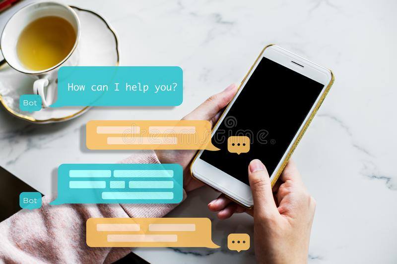 Chat bot assistant for future. Machine Learning. royalty free stock photo