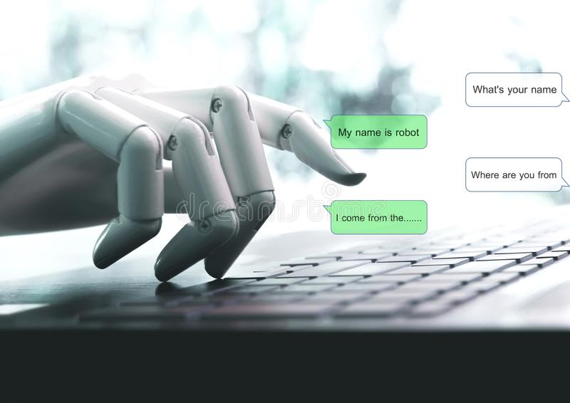Chat bot concept hands robot talk live chat. Chat bot concept hands robot talk live a chat royalty free stock photo