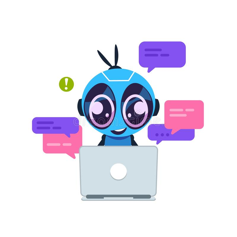 Chat bot. Cute cartoon robot with artificial intelligence, personal assistant and virtual support service concept stock illustration