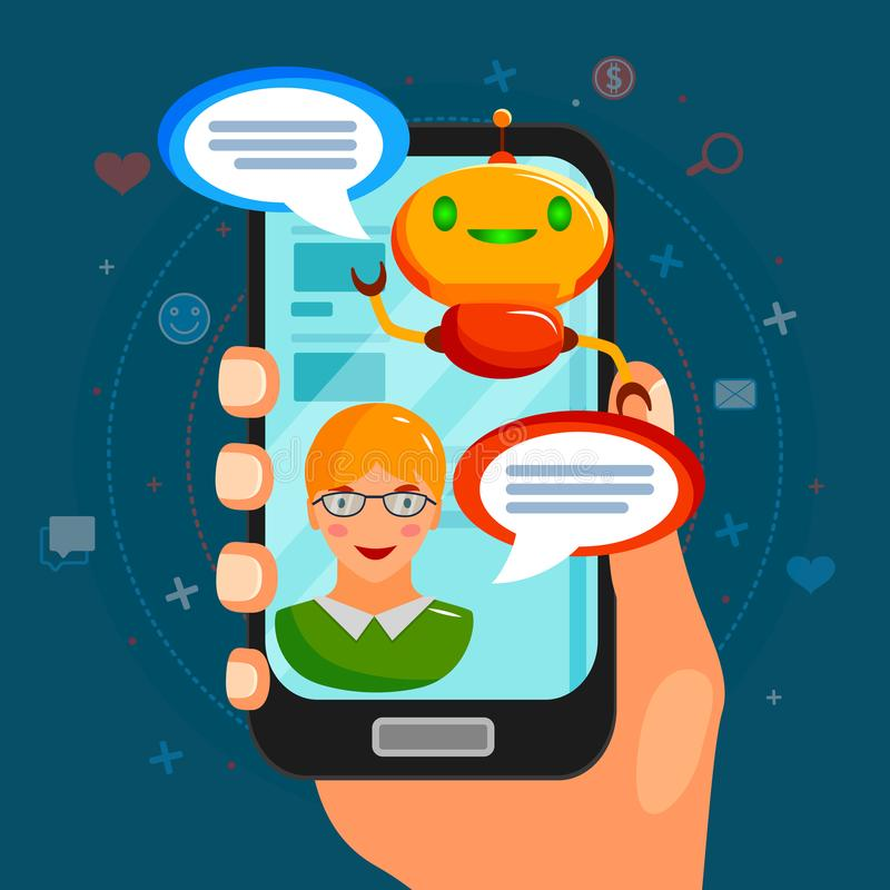 Chat Bot Flat Composition. With conversation between program and user on smart phone screen vector illustration royalty free illustration