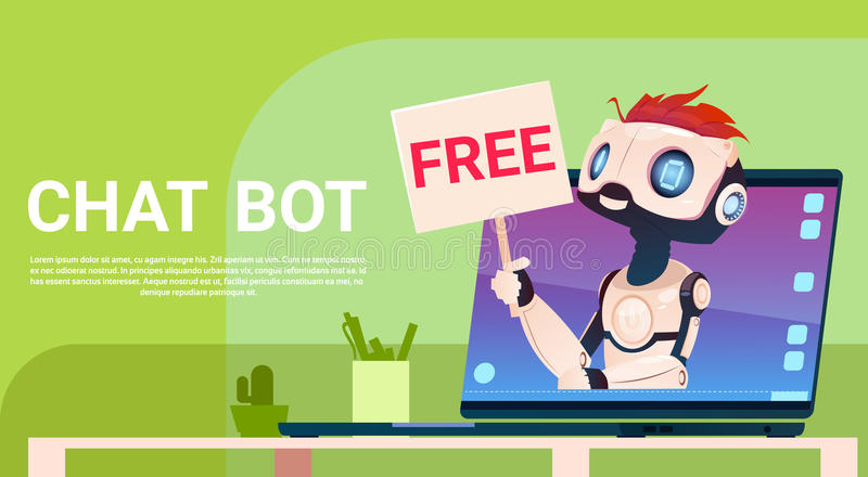 Chat Bot Free, Robot Virtual Assistance Of Website Or Mobile Applications, Artificial Intelligence Concept. Flat Vector Illustration stock illustration