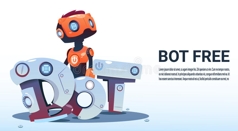 Chat Bot Free Robot Virtual Assistance Of Website Or Mobile Applications, Artificial Intelligence Concept. Flat Vector Illustration vector illustration
