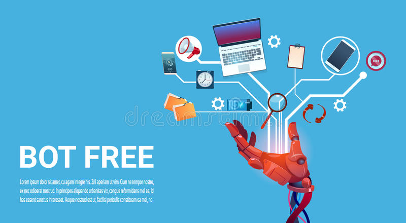 Chat Bot Free Robot Virtual Assistance Of Website Or Mobile Applications, Artificial Intelligence Concept vector illustration