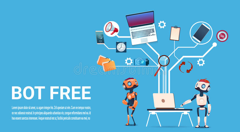 Chat Bot Free Robot Virtual Assistance Of Website Or Mobile Applications, Artificial Intelligence Concept. Flat Vector Illustration royalty free illustration
