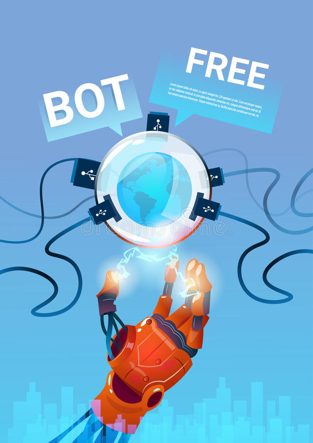 Chat Bot Free Robot Virtual Assistance Of Website Or Mobile Applications, Artificial Intelligence Concept. Flat Vector Illustration stock illustration