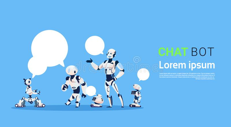 Chat Bot Group, Robots Virtual Assistance Element Of Website Or Mobile Applications, Artificial Intelligence Concept. Flat Vector Illustration stock illustration