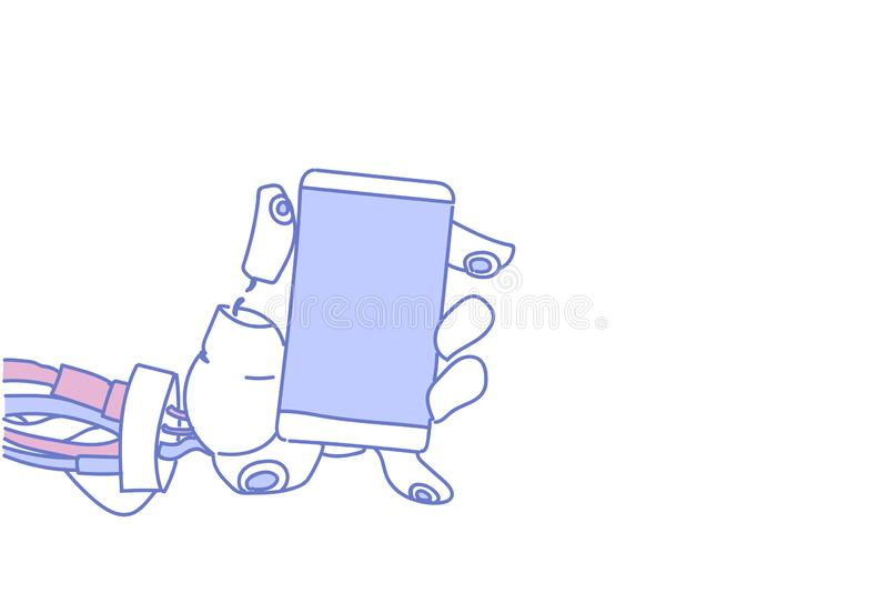 Chat bot hand using cell smart phone robot virtual assistance service mobile applications artificial intelligence. Concept sketch doodle horizontal vector vector illustration