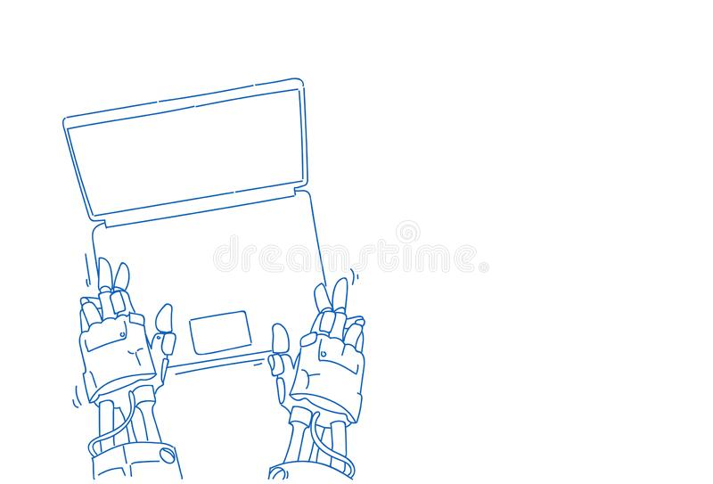 Chat bot hands using laptop robot virtual assistance computer applications artificial intelligence concept sketch doodle. Horizontal isolated vector royalty free illustration