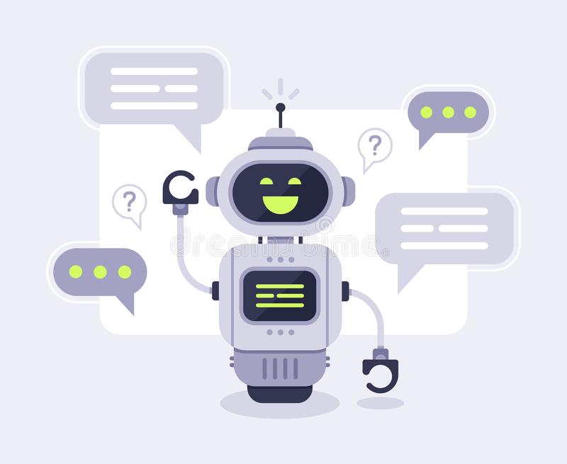 Chat bot messages. Smart chatbot assistant conversation, online customer support robot and talking to machine bots vector illustration