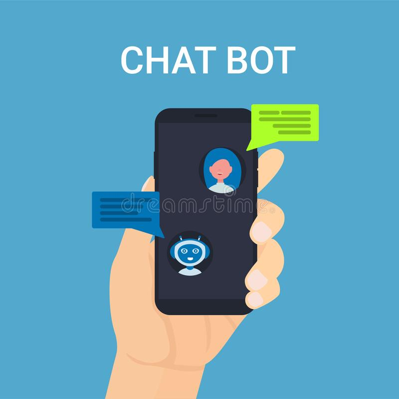 Chat bot robot mobile man hand people icons royalty free illustration
