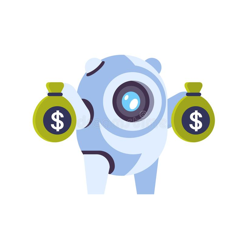 Chat bot robot money growth wealth concept artificial intelligence dollar electronic payment chatbot technology isolated. Flat vector illustration vector illustration