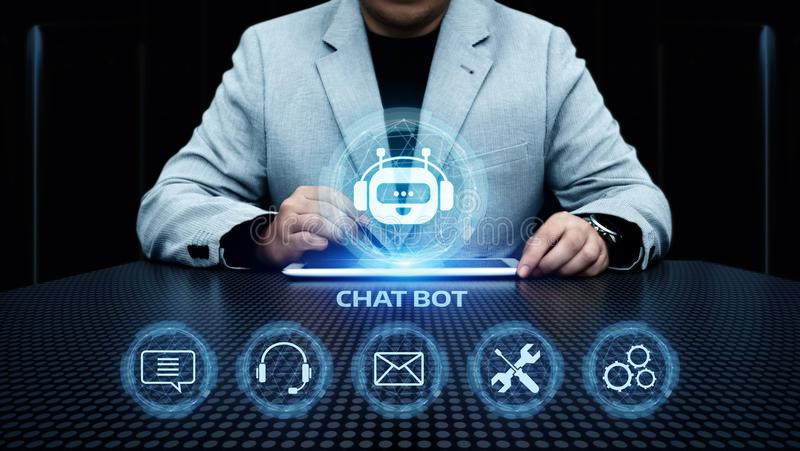 Chat bot Robot Online Chatting Communication Business Internet Technology Concept stock image
