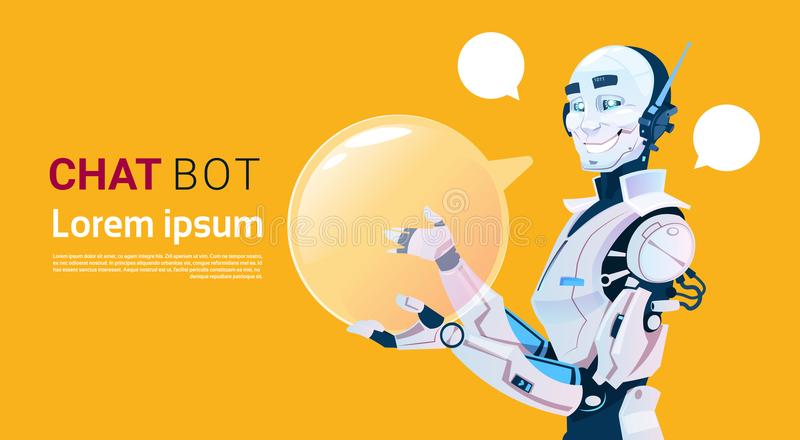 Chat Bot, Robot Virtual Assistance Element Of Website Or Mobile Applications, Artificial Intelligence Concept. Flat Vector Illustration stock illustration