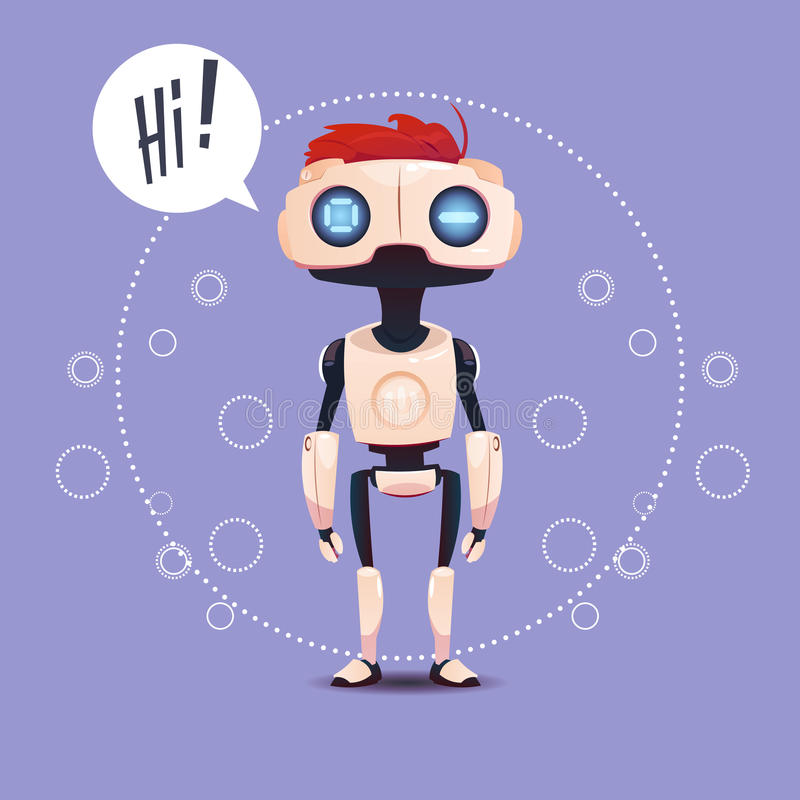 Chat Bot, Robot Virtual Assistance Element Of Website Or Mobile Applications, Artificial Intelligence Concept. Flat Vector Illustration royalty free illustration