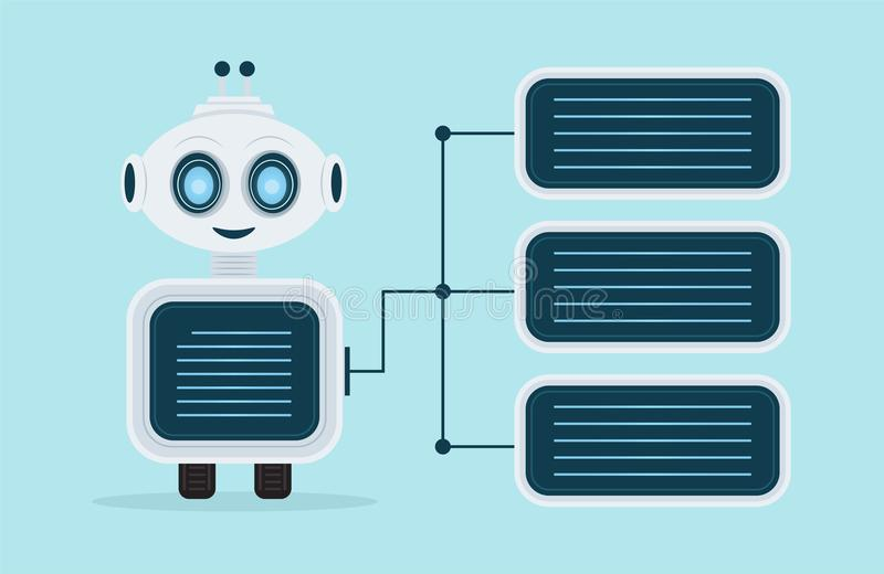 Chat Bot, Robot Virtual Assistance Element Of Website Or Mobile Applications, Artificial Intelligence. Robot Virtual Assistance Element Of Website Or Mobile royalty free illustration